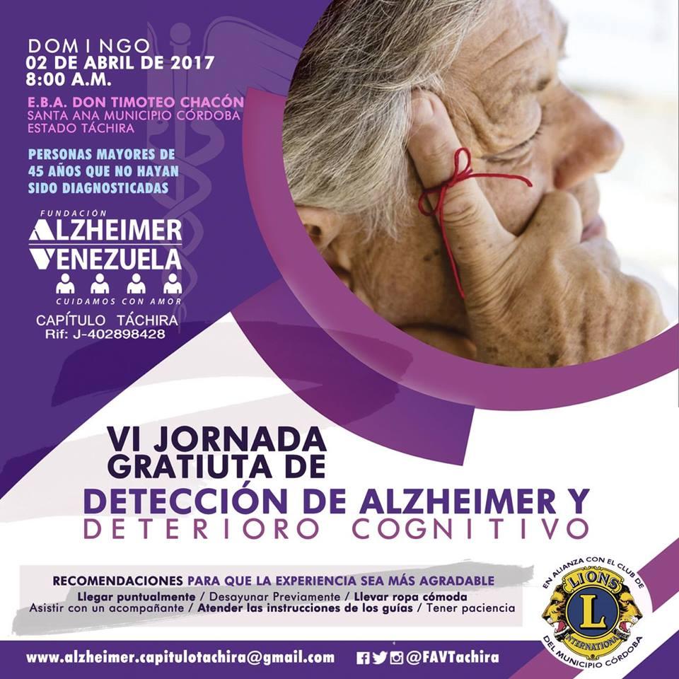 VI Jornada Gratuita de Detección de Alzheimer y Deterioro Cognitivo