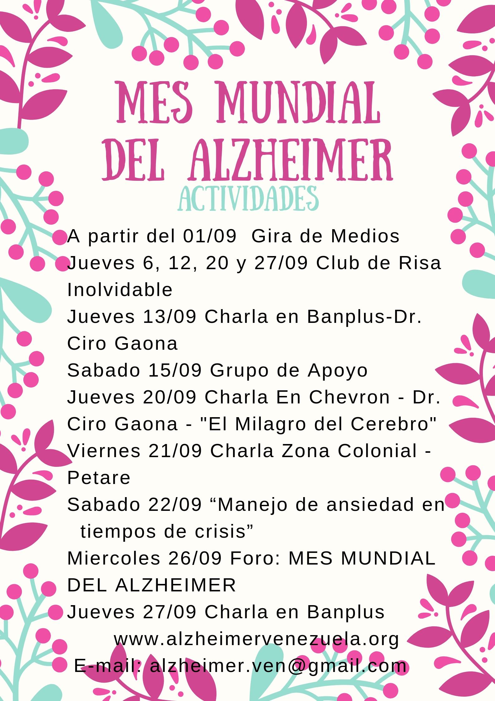CARACAS MES MUNDIAL DEL ALZHEIMER 2018 RESUMEN DE ACTIVIDADES