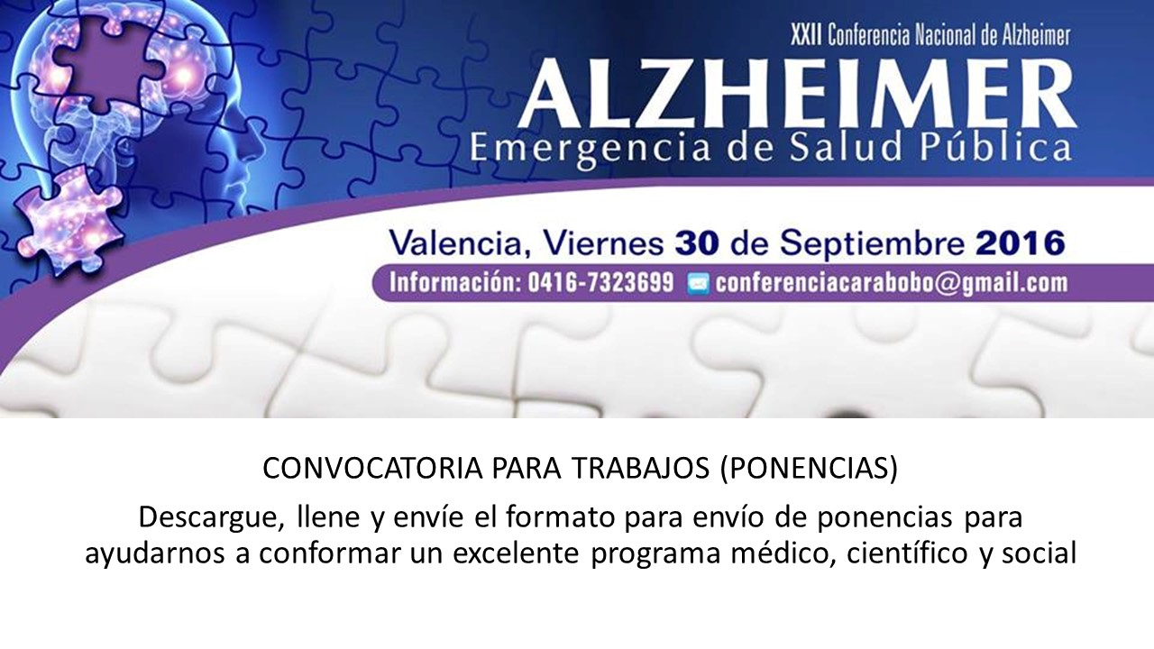 Afiche preliminar XXII Conferencia Alzheimer Emergencia de Salud Publica