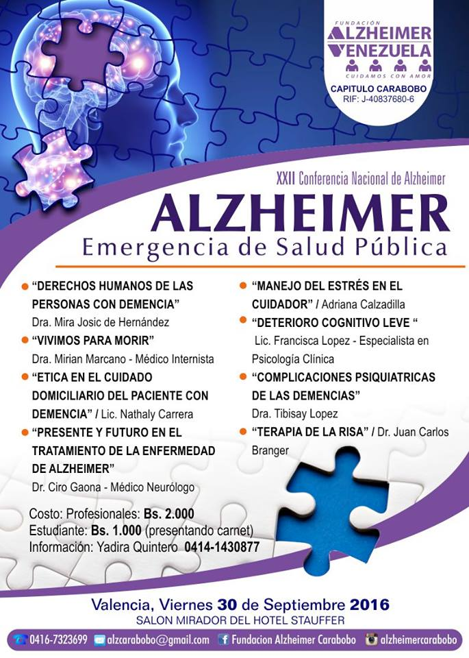 Afiche XXI Conferencia Nacional del Alzheimer en Valencia Edo Carabobo 30 sept