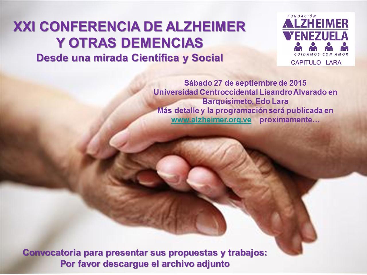 Afiche Convocatoria presentar propuestas a la Conferencias Alzheimer y otras Demencias
