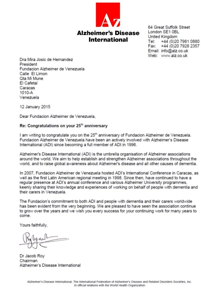 Carta ADI felicitacion 25 aniversario